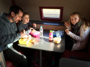 We at our packed lunch in the motorhome at Gloucester Services