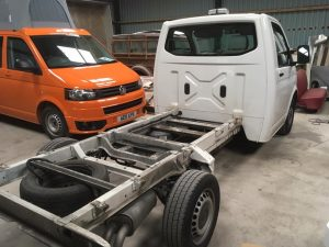 chassis cab in workshop