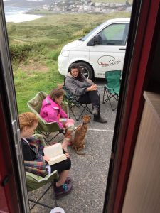 View from the warm, dry motorhome..