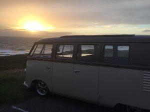 Buzz Burrell camper, sunset, Retro Tourer