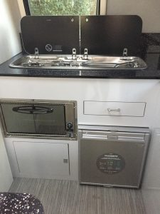 motorhome kitchen hob sink fridge cooker